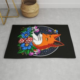 Psychedelic Fox Magic Mushrooms Rug