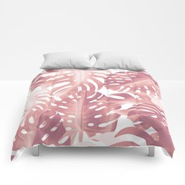 Rose gold tropical plant Comforters