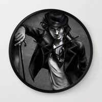 charlie chaplin Wall Clocks featuring Charlie Chaplin by Monashka