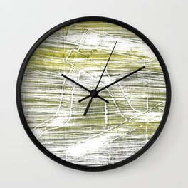 Moss green abstract watercolor Wall Clock