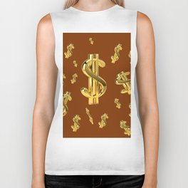 FLOATING GOLDEN DOLLARS  IN COFFEE BROWN DESIGN Biker Tank