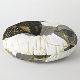 Black, Gray and Gold Abstract Shapes Floor Pillow