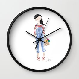 Overalls & Red Stripes Wall Clock