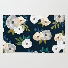 Midnight Florals - Blue & Cream Rug