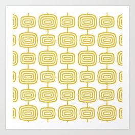 Mid Century Modern Atomic Rings Pattern Mustard Yellow 3 Art Print