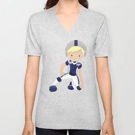 Rugby, Cute Boy, Blond Hair, American Football Unisex V-Neck