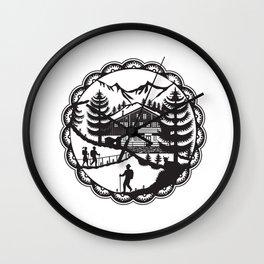 Swiss Chalet Alpine Hiker Decoupage Wall Clock