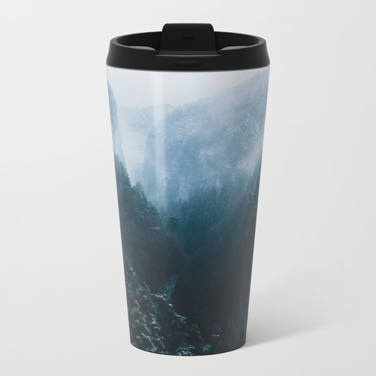 Foggy Forest Mountain Valley - Landscape Photography Metal Travel Mug
