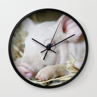 piglet Wall Clocks featuring Piglet by Ruta Dok
