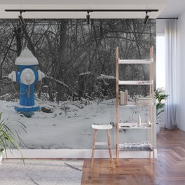 Blue Barrel White Bonnet Fire Hydrant West Virginia Fire Plug Wall Mural