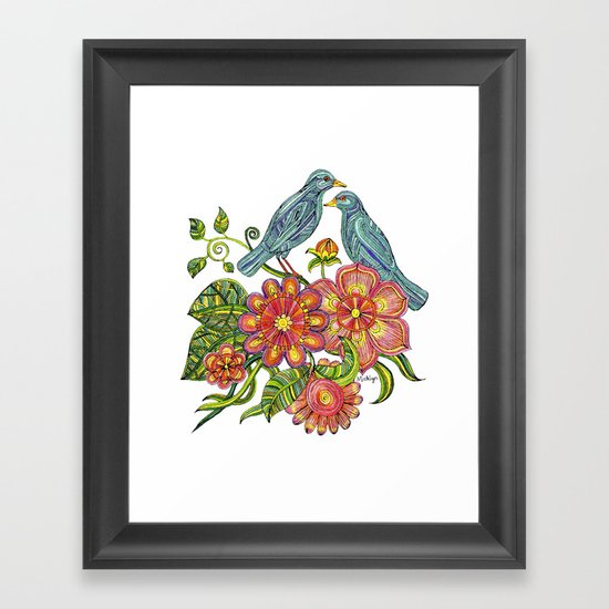 Fly Away With Me - Hand drawn illustration with birds, flowers and leaves. Framed Art Print