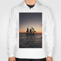 sailboat Hoodies featuring Sunset Sailboat by Jonny Haring