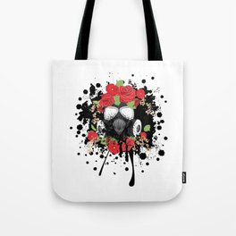 Gas Mask with Red Roses Tote Bag
