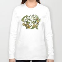 shipping Long Sleeve T-shirts featuring Botanical Pug by Huebucket