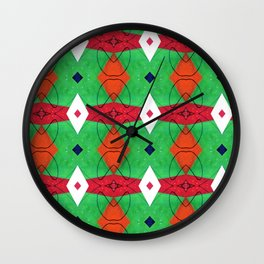 Colorful Pattern Green Red Orange Blue Wall Clock