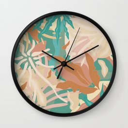 Abstract Tropical Plants / Turquoise and Pastels Wall Clock