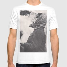 Human Water Fountain White Mens Fitted Tee MEDIUM
