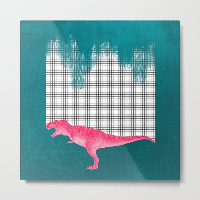 DinoRose - pinky tyrex Metal Print