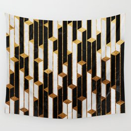Marble Skyscrapers - Black, White and Gold Wall Tapestry