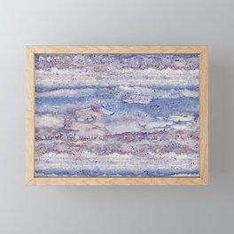 Blue lilac marble Framed Mini Art Print