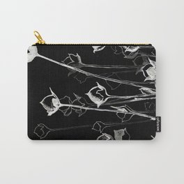 Graphic art. White ink and black cardboard. Flowers Carry-All Pouch