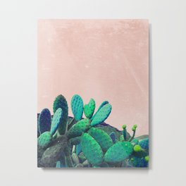 Cacti On Pink Background Metal Print