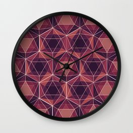 Purple Icosahedron Pattern Wall Clock