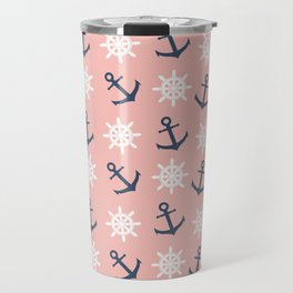 Nautical coral navy blue anchor and wheel pattern Travel Mug