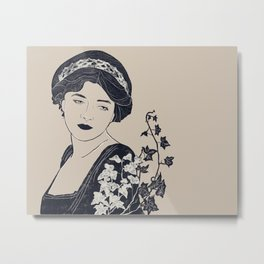 Victorian woman with ivy Metal Print