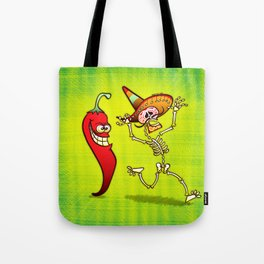 Hot Chili Pepper Nightmare for a Mexican Skeleton Tote Bag