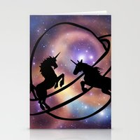 unicorns Stationery Cards featuring Space Unicorns by haroulita