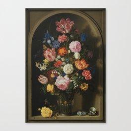 Ambrosius Bosschaerts the Elder - Bouquet of Flowers in a Stone Niche Canvas Print