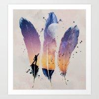FEATHERS / MOON BALLOON Art Print