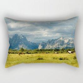 Horses and the Grand Teton Rectangular Pillow