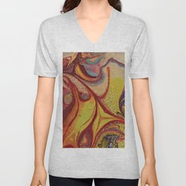 Purple and Yellow Modern Abstract Art Unisex V-Neck