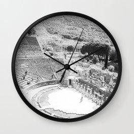 Travel Escape | Arena Ruins Ephesus Black and White Stadium European Mountain Wilderness Landscape Wall Clock