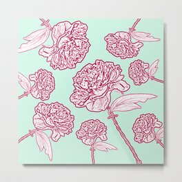 Barbed Wire Peony Floral in Coral Pink & Aqua Metal Print