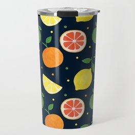 Modern navy blue orange yellow fruit polka dots Travel Mug
