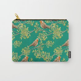 Red Robin & Emerald Green Pattern Carry-All Pouch