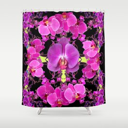 Purple  Butterfly Orchids Pattern Fantasy Yellow Black Art Shower Curtain