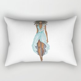 GIRL - Negress Lady In TURQUOISE - watercolor Rectangular Pillow