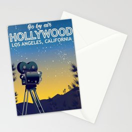 Hollywood, Los Angeles,California travel poster Stationery Cards