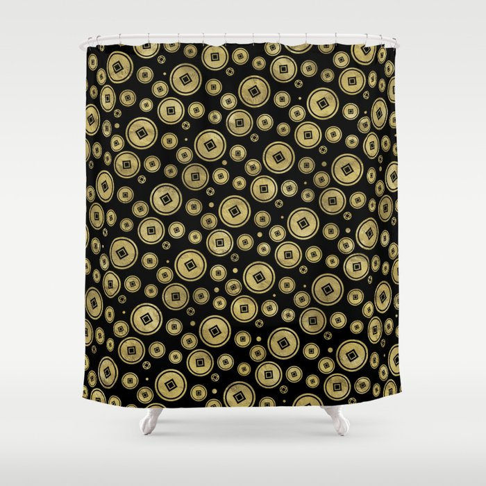 Chinese Coin Pattern Gold On Black Shower Curtain