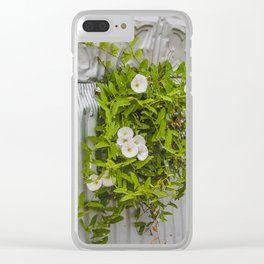 Pressed Tin and Weeds (Creeping Jenny) Clear iPhone Case