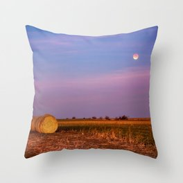 Hay Bales Under the Super Blue Blood Moon in Oklahoma Throw Pillow