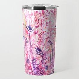watercolor pink grass Travel Mug