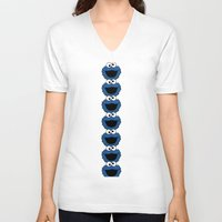 cookie monster V-neck T-shirts featuring Cookie Monster  by aldarwish