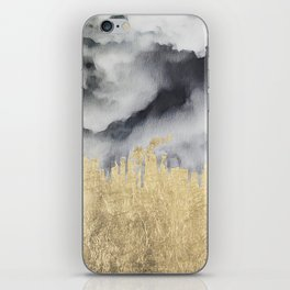 Watercolor black white faux gold abstract clouds iPhone Skin