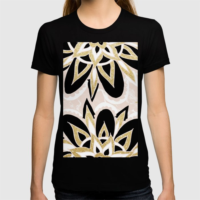 Modern black gold pink abstract floral pattern T-shirt