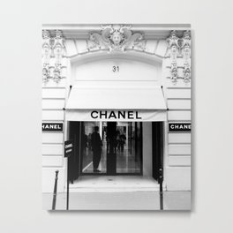 Fashion print, Black white, Brand Store, Fashion art, Photo, Minimal Metal Print